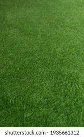 Closeup green artificial grass selective focus for background.