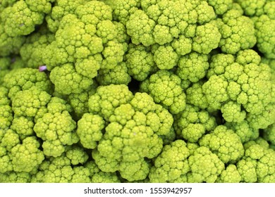 Closeup of green cauliflower at the market