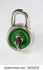 Close-up of green closed padlock