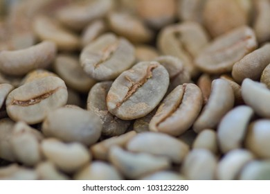 Close-up green coffee beans