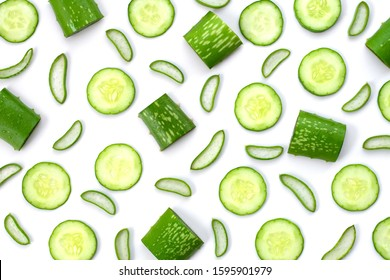 Closeup green fresh organic aloe vera and cucumber slices pattern texture for background. Natural herbal medical plant ,skincare ,healthcare  and beauty spa concept. Top view. Flat lay.
