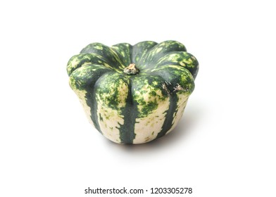 closeup of green gourd for halloween decoration on white background