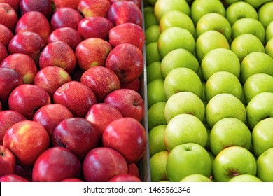 Close-Up Of Green and Red Apples for sale at market stall. Carmel Market, Tel Aviv, Israel