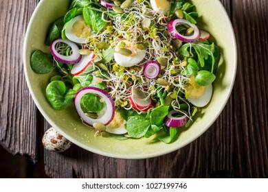 Closeup of green salad with quail egg, radish and onion