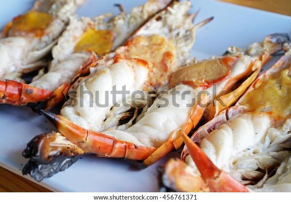 Closeup Grilled Giant Freshwater Shrimp Thai Stock Photo
