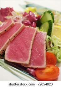 Closeup of grilled tuna salad