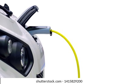 Close-up gripping of electric charge machine connected with plug for charging battery on smart car (EV Car), Electric power is an alternative fuel for smart vehicles, isolated on white background