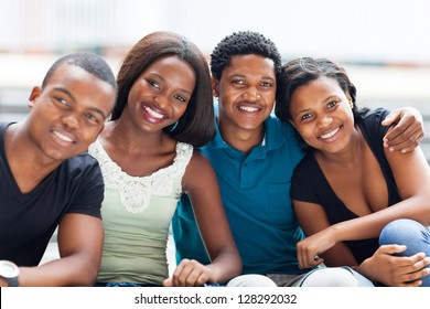 closeup of group of african american college friends outdoors