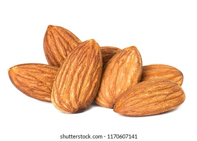 Closeup a group of almonds, isolated on the white background.