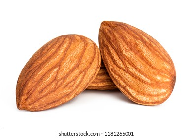 Closeup a group of almonds, Nut isolated on the white background.