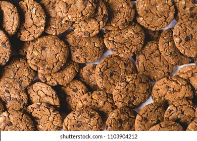 Closeup of a group of assorted cookies. Chocolate chip, oatmeal raisin