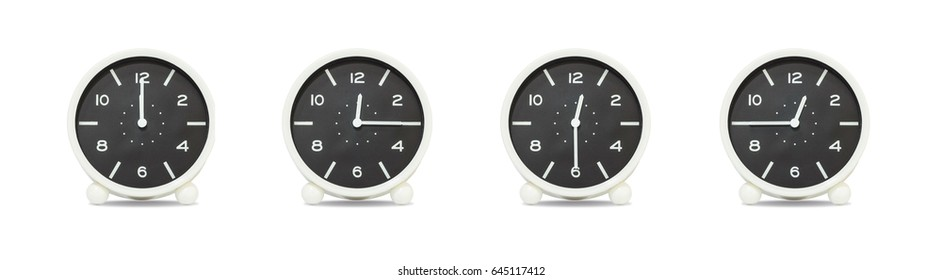 Closeup group of black and white clock with shadow for decorate show the time in 12 , 12:15 , 12:30 , 12:45 a.m. isolated on white background , beautiful 4 clock picture in different time