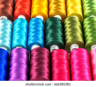 Closeup Group of colorful spools of thread use to sewing, needlework  and embroidery