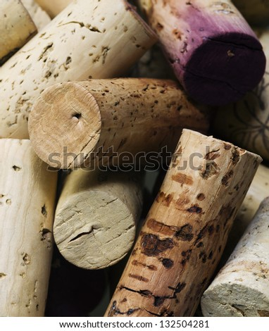 Close-up of group of high-quality wine corks