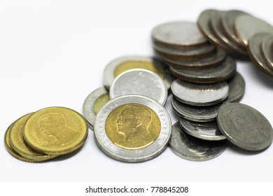 Closeup group of Thai baht coins ,Thai baht coins on white background