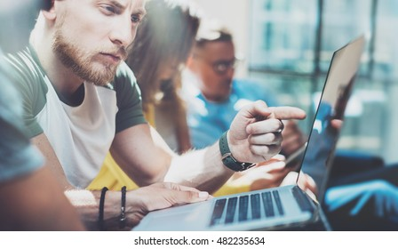Closeup Group Young Business People Gathered Together Discussing Creative Project Process.Coworkers Brainstorm Meeting Discussion.Working Office Startup Concept.Businessman Work Modern Laptop