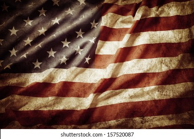 Closeup of grunge American flag