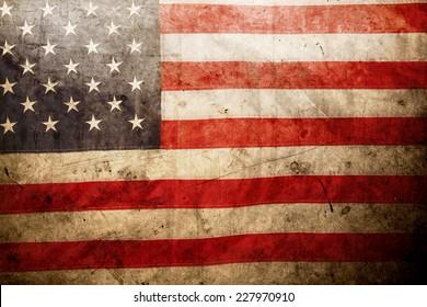 Closeup of grunge American flag