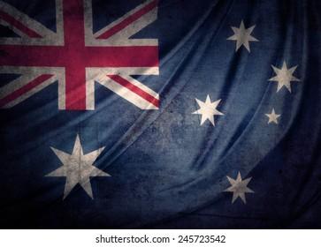 Closeup of grunge Australian flag
