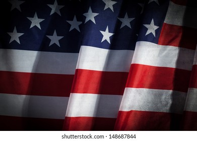 Closeup of Grunge flapping flag USA with wave