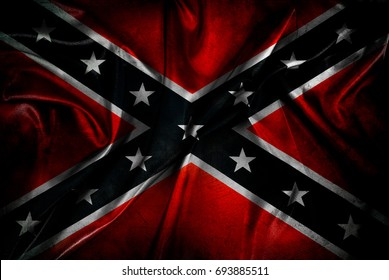 Closeup of grunge silky Confederate flag