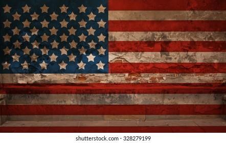Closeup of grunge United States flag
