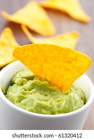 closeup of a guacamole dip