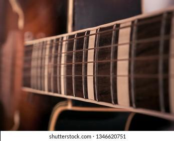 Closeup of the guitar details