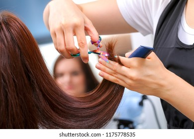 Close-up of a hairdresser cutting the hair of a woman in a beauty salon