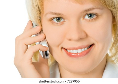 close-up half face business woman talk cell phone over white background