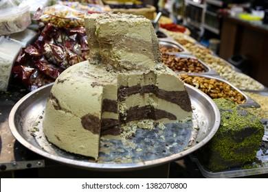 closeup of Halva, oriental sweets from Iran popular in many other regions of the world, at the Machane Yehuda Market, Jerusalem, Israeli
