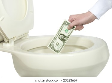 Close-up of a hand about to flush money down the toilet