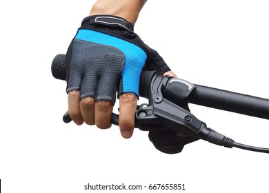 Closeup of hand of a cyclist wearing a glove, holding a  bicycle brake lever isolated