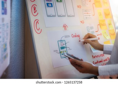 Closeup hand of designer woman sort layout of drawing application for developing for mobile applications. User experience Design concept.