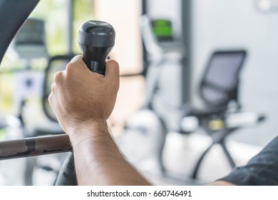 Close-up Hand exercise training in gym