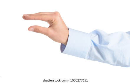 Close-up Of Hand Gesturing Over White Background
