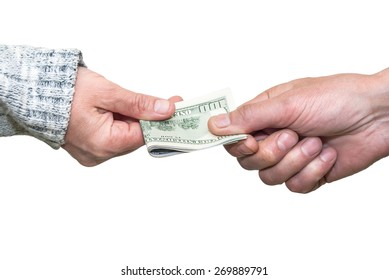 Close-up Hand giving  Us Dollars isolated on white