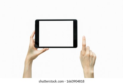 Close-up of hand holding black tablet isolated on white background.