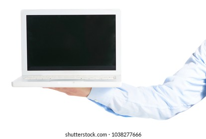 Close-up Of Hand Holding Laptop Over White Background