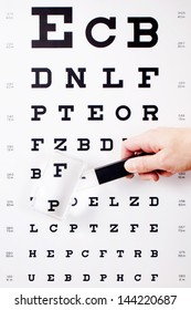Closeup of hand holding magnifying glass against Snellen chart