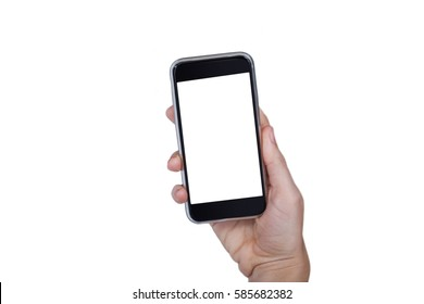 Close-up of hand holding mobile phone against white background