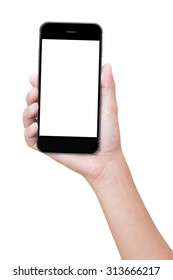 closeup hand holding phone isolated with clipping path