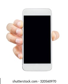 closeup of hand holding the smart phone isolated on white background