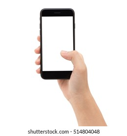 Close-up hand holding smart phone white screen isolated on white background clipping path inside