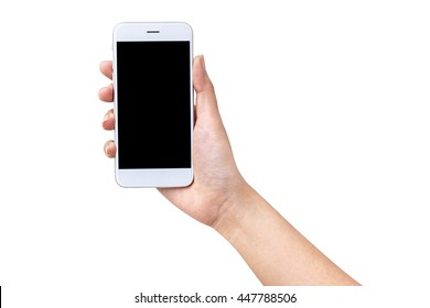 close-up hand holding smartphone blank screen for text and content