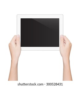 closeup hand holding tablet isolated white clipping path inside