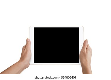 Close-up hand holding tablet with isolated background with black screen