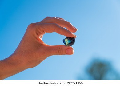 Closeup of a hand holding an uncut sapphire up to the sun