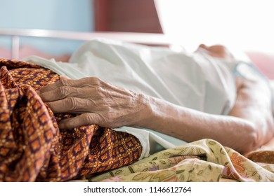 closeup hand of old woman , wrinkle skin, asian palliative patient sleep on bed