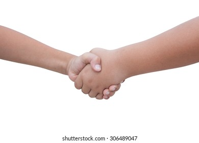 closeup of hand on white background clipping path